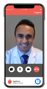 Appletree Virtual Care smartphone call with MD